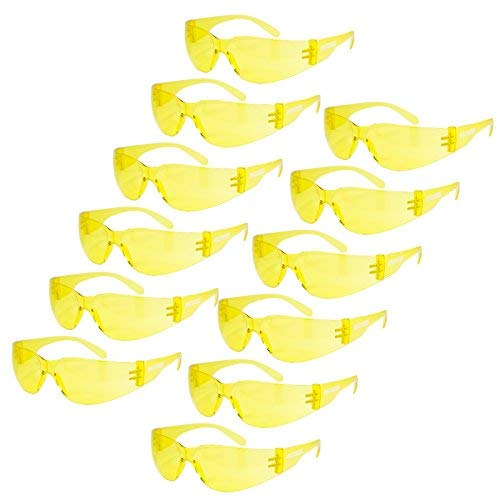 JORESTECH Eyewear Protective Safety Glasses, Polycarbonate Impact Resistant Lens Pack of 12 (Yellow)