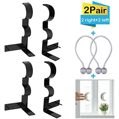 4Pcs Double Curtain Rod Brackets, 2 Pairs(Left+Right) No Drill Adjustable Hang Curtain Rod Holders for 1