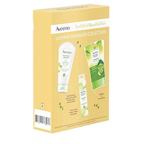 413WlW4xEDL - Aveeno Ultimate Radiance Collection Skincare Gift Set with Brightening Daily Face Scrub, Peel-Off Face Mask, and Infusion Drops, Evens Skin Tone for Softer, and Glowing Skin, 3 items