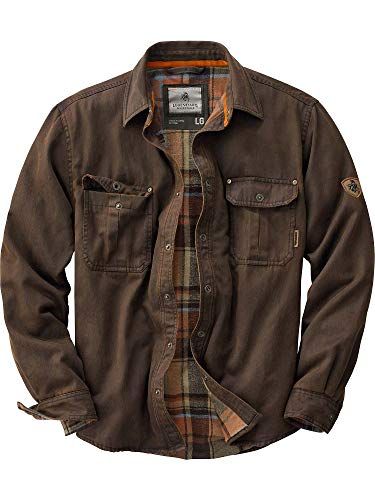 Leather Work Jacket - Legendary Whitetails Men's Journeyman Rugged Shirt Jacket Tobacco Medium