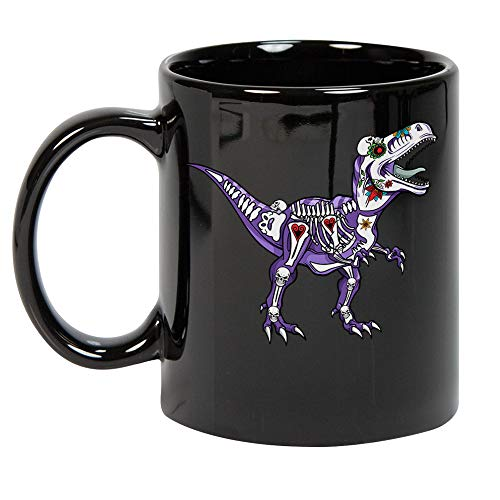 Sugar Skull T-rex Halloween Day of the Dead Dinosaur Lover Cool Coffee Mug Gift for Boys Girls Women Men Black Ceramic Coffee Tea Milk Hot Chocolate Mug Cup 11oz ()