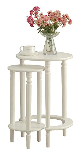 Yaker's collection Accent Round Wood End Table Sofa Side Set of 2 for Small Spaces Coffee Nesting Tables (WHITE) ()