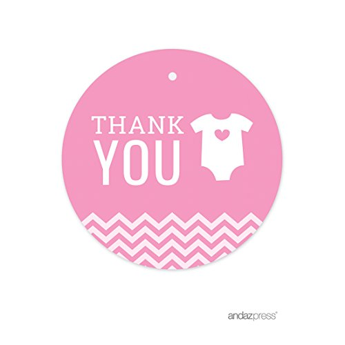 Andaz Press Pink Chevron Girl Baby Shower Collection, Round Circle Gift Tag,  Thank You, 24 Pack