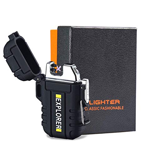 Plasma Lighters, Waterproof Windproof Flameless Lighters Dual Arc USB Electric Lighters Rechargeable for Outdoor/Camping/BBQ/Hiking (Black) ()