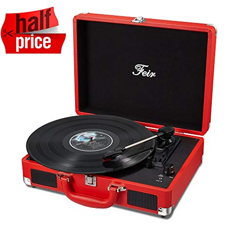 Vinyl Stereo Red Record Player 3 Speed Portable Turntable Suitcase Built in 2 Speakers RCA Line out AUX Headphone Jack PC - Kids Player Record