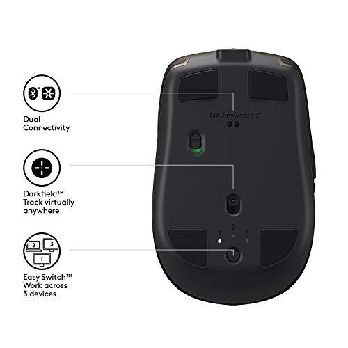Logitech MX Anywhere 2 Ratón Inalámbrico, Bluetooth o 2,4 GHz con Receptor USB Unifying, Seguimiento en Cualquier…