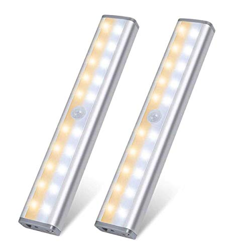 Under Cabinet Lighting 2 Pack, 20 LED Wireless Motion Sensor Closet Light, USB Rechargeable Battery, Magnetic Strip, Stick-on Anywhere Step Night Lamp for Wardrobe Cupboard Drawer Kitchen Stairs