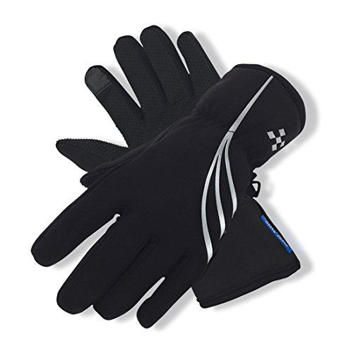 Fuxinone Waterproof Men/Women Winter Gloves, Touchscreen Thermal Warm Gloves Snowboard Snowmobile Cold Weather Gloves For Skiing,Cycling (Black-sliver, M)