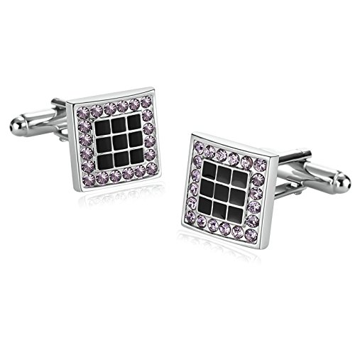 Aooaz Stainless Steel Enamel Cufflinks For Men Square Lattice Cubic Zirconia Black Purple With Gift Box