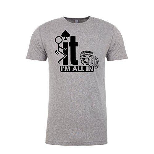 Fanbuild Screw It I'm All in Funny Poker Ringspun T-Shirt (Medium, Gray) (Wsop Poker Shirts)