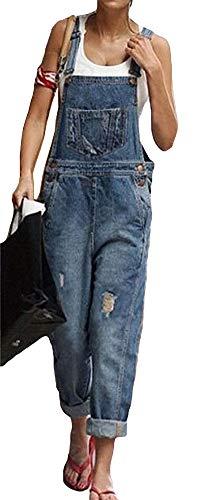 (ezShe Women's Adjustable Strap Boyfriend Denim Bib Overalls Darkblue 8)