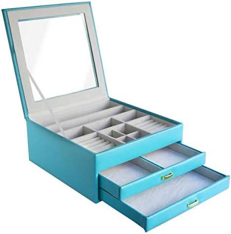 CORDAYS - Joyero con 3 Niveles y Vitrina de Cristal. Caja organizadora de Joyas Hecha a Mano Color Turquesa CDL-10009A: Amazon.es: Hogar