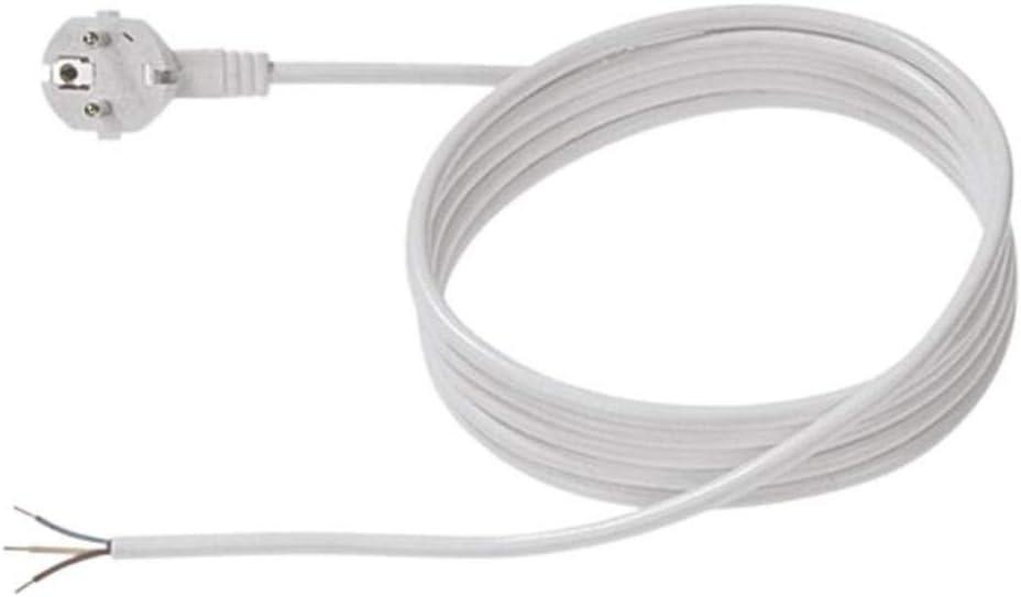 Weiss L/änge 2m H05VV-F3G1,0 Anschlussleitung Bachmann 304.274 Schutzkontakt-Zuleitung