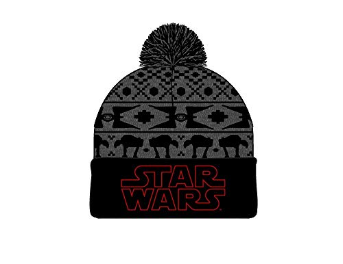 Star Wars Imperial Vehicles Fair Isle Embroidered Logo Jaquard Knit Beanie Hat Cap Black