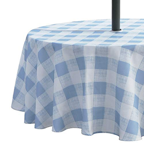 VCVCOO Outdoor 60 inch Round Tablecloth with Zipper and Umbrella Hole,Fabric Wrinkle-Free Stain Resistant Table Cover White and Blue Plaid Design for Backyard Parties BBQs Family Gatherings Washable