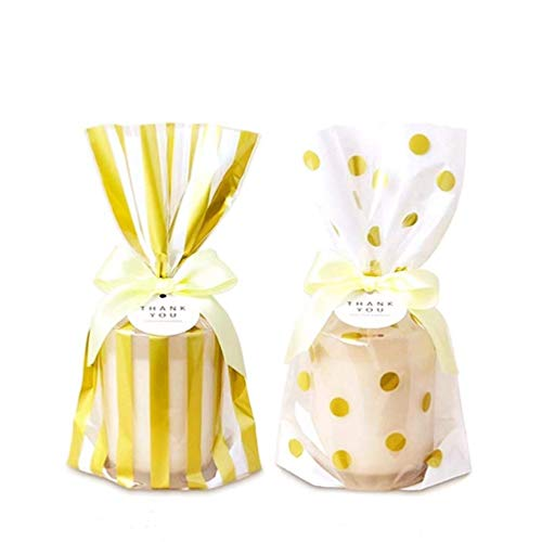 KEYYOOMY Gold Polka Dot Cookie Bags and Striped Plastic Candy Bags 200 Pcs Cello/Cellophane Bags for Wedding Baby Shower Kid