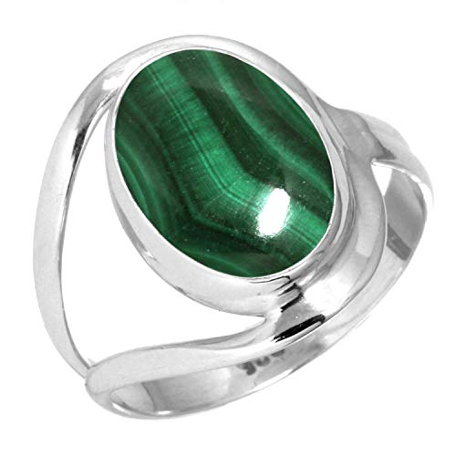 - 925 Sterling Silver Women Jewelry Natural Malachite Ring Size 13