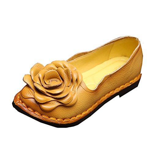 Primavera Mujeres Flores Verano 5 Giallo Stile Mano Hecho A Zapatos Vintage Vogstyle Cuero CSxf5df