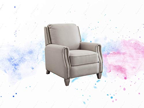 GUPLUS-Pushback Recliner, Taupe Fabric Upholstery with Bronze Nail-Head Trim Comfort Meets Style with This Sophisticated Reclining Chair. Taupe Fabric Upholstery and Bronze Nail-Head
