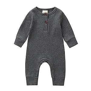 ALLAIBB Newborn Unisex Babies Long Sleeve Autumn Romper Solid Color Cotton Baby Jumpsuit