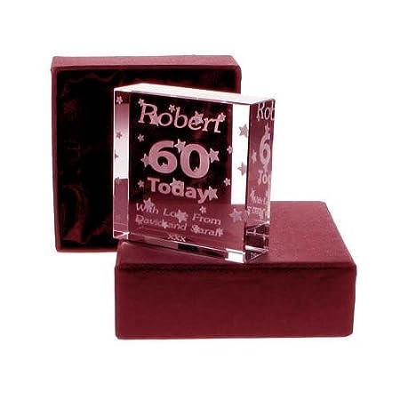 60th Birthday Glass Block Gift For Him Engraved Keepsake Amazoncouk Kitchen Home