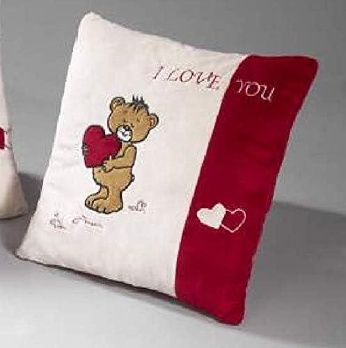 myToyscenter Coussin avec Ours I Love You Beige avec Bandes lat/érales Rouge 35 x 35 cm