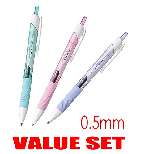 Value Set of 3 0.5mm Rubber Grip Type Lavender Body Uni-ball Jetstream Extra Fine Point Click Retractable Roller Ball Pens Color Body Type With Our Shop Original Product Description Light Pink Sky Blue Black Ink Each 1 Pen