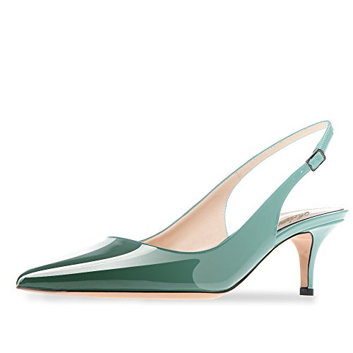 Modemoven Women's Emerald Patent Leather Pointed Toe Slingback Ankle Strap Kitten Heels Pumps Evening Stiletto Shoes - 7 M US (Shoes High Heels Slingback Womens)