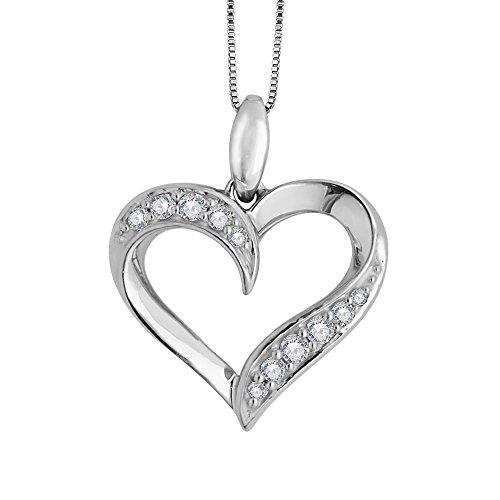 10k White Gold Heart Diamond Pendant Necklace (0.20 Carat)