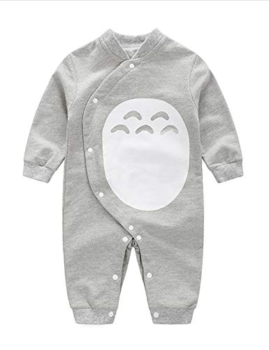 D.B.PRINCE Newborn Baby Boy Romper Jumpsuit Gentleman Suit Long Sleeve Bodysuit Clothes with Bow Tie (0-3 Months, Totoro)
