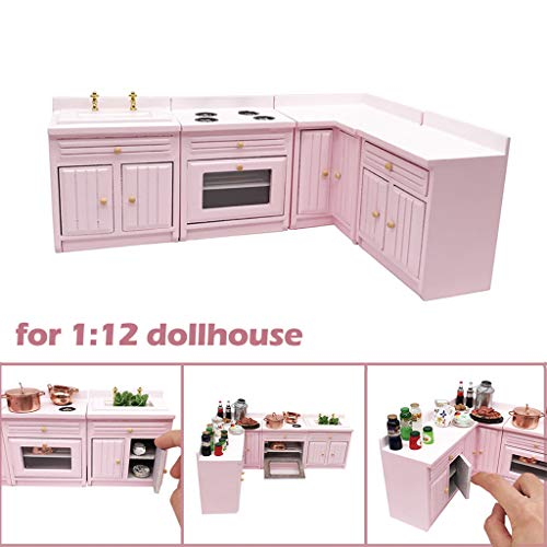 - Vibola Dollhouse Furniture Accessories,Freely Combined 1/12 Scale Miniature Wooden Kitchen Cabinet Table Set Suitable for Living Room Pretend Play Dollhouse Toy