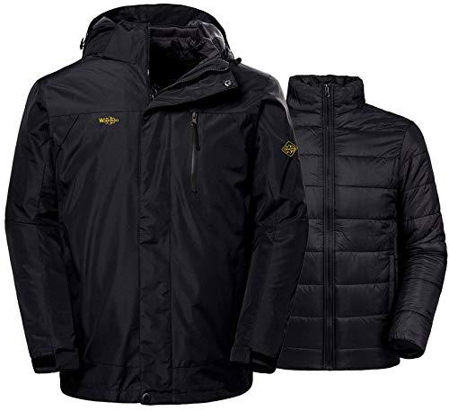 Wantdo Men's Winter Ski Jacket Water Resistant Windproof 3 in 1 Jacket Puff Liner,Black,US L
