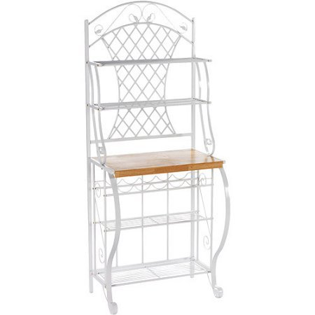 Beautiful Baker's Rack, Powder Coated White Finish, Oak Laminate Counter, Steel Tube, Steel Wire, Flat Sheet Metal and MDF by GAShop