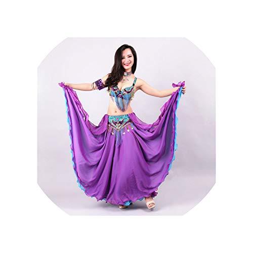 Performance Women Dancewear 3Pcs Outfit Bra Belt Skirt Long Dance Costume,Blue,L -
