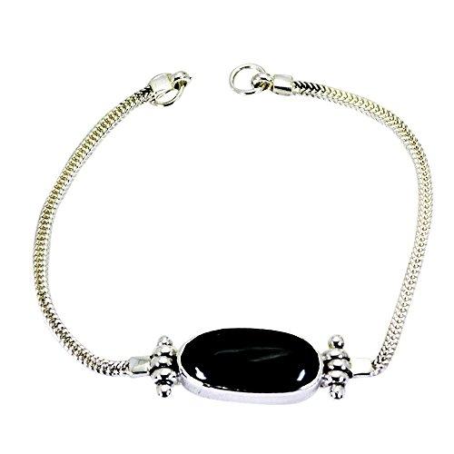 55Carat Natural Balck Onyx 925 Silver Bracelet for Women Gemstone Spring Ring Astrological Length 6.5 to 8 Inch