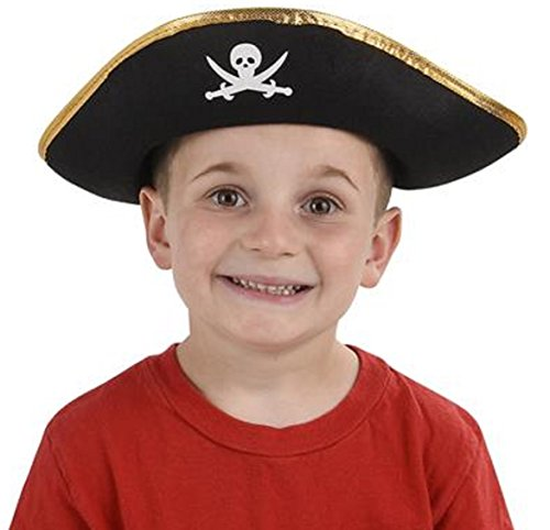 Pirate Felt Hats Black/Gold For Kids - 6 Pack]()