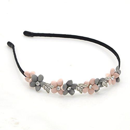Rhinestone Flower Headband - Pink One Row Black Satin Glimmering Hairband with Crystal Glass for women,lady,kids-Girls Hair Band (1 PCS, 5 PETAL GREY PINK)