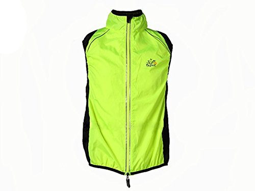 - Hysenm Tour De France Polyester Windproof Breathable Reflective Cycling MTB Vest Sleeveless, Yellow, 2XL