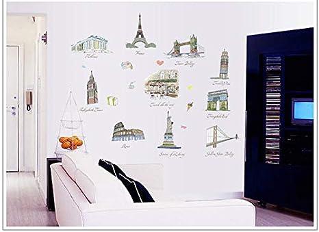 Etiqueta de la pared Imagen arquitectónica de fama mundial ...