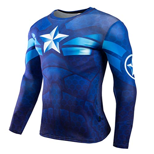 Realistic Nightwing Costume (Long Sleeve Captain America Compression Workouts Shirt Mens Costume Shirt)