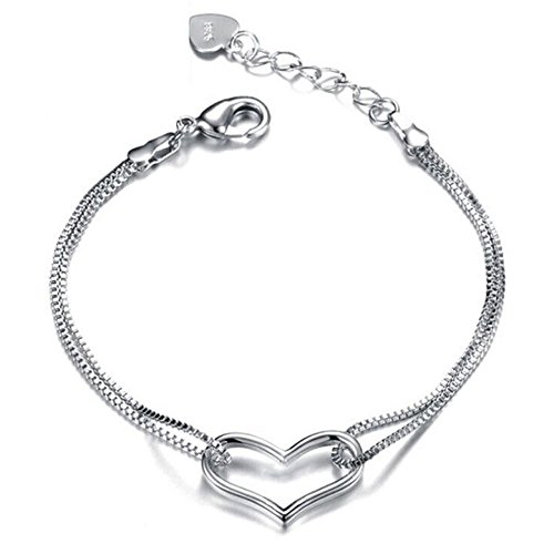 (Jewelryamintra Silver Plated Love Heart with Double Chain Links Bracelet Bangle Wedding Jewelry)