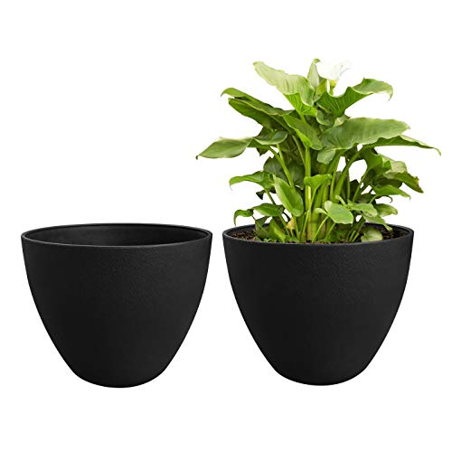 Flower Pot Garden Planters 12 Inch Pack 2 Outdoor Indoor, Resin Plant Containers with Drain Hole (Black) ()