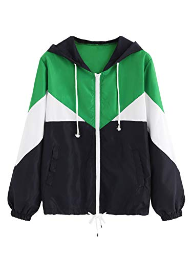 Milumia Women's Color Block Drawstring Hooded Zip Up Sports Jacket Windproof Windbreaker Multicolor-12 ()