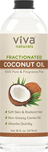 Viva Naturals Fractionated Coconut Oil, 16 oz - Ultra Hydrating Massage & Aromatherapy Oil, Hexane-Free