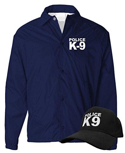 Blue Coat K9 (K-9 UNIT - k9 canine police officer swat - COACH JACKET + HAT COMBO, L, Navy)