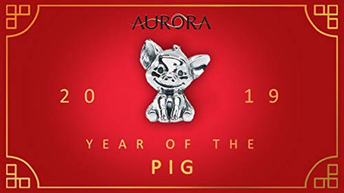 Chinese Zodiac 2019 Pig Sterling Silver Charm Bead S925, Cute Piglet Piggy Silver Charm Bead Pendant, Silver Pig Necklace, fits Pandora Charm Jewellery