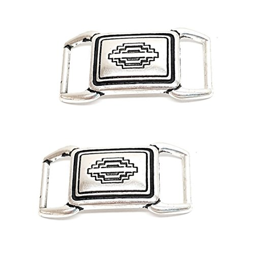 (Set of 2, Hill Leather Co. Engraved Silver W/ Black Accents Rectangle Bar Concho 1