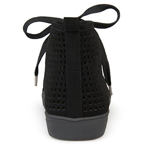 Brinley Co Baskets À Lacets En Cuir Synthétique À Lacets Noires Pour Femmes