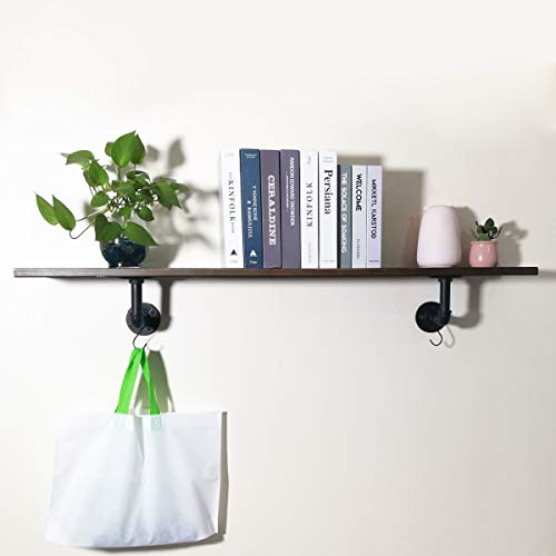 PUNCIA 48in Long Industrial Pipe Solid Wooden Floating Bookcase Kitchen Shelves Long Wall Mount Shelf (48in8in0.8in1Pack)