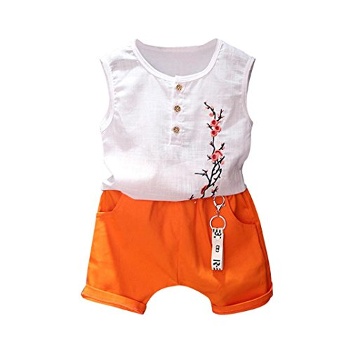 (Franterd baby Boys Girls Cotton Linen Clothes Sets, Cartoon Embroidery Plum Blossom Tops with Button + Summer Beach Shorts Pants (4T, White) )
